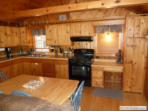Full kitchen in cabin on lost lake